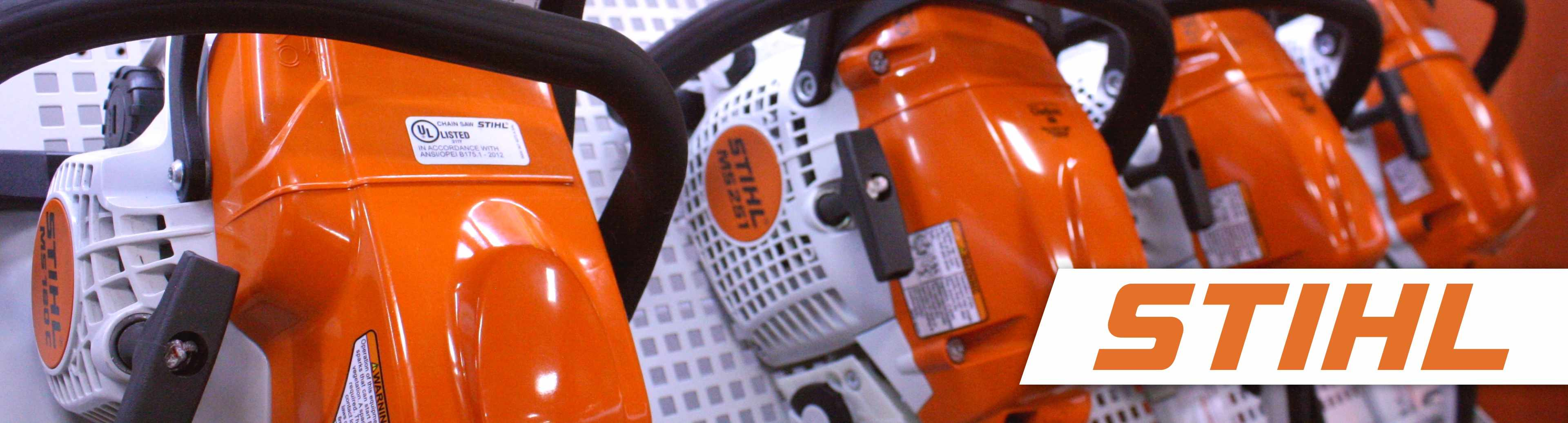 Stihl chainsaws at Gladieux Home Center with Stihl logo
