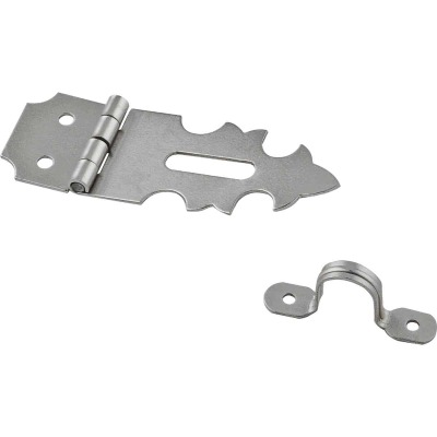National 5/8 In. x 1-7/8 In. Satin Nickel 2-Hole Decorative Hasp