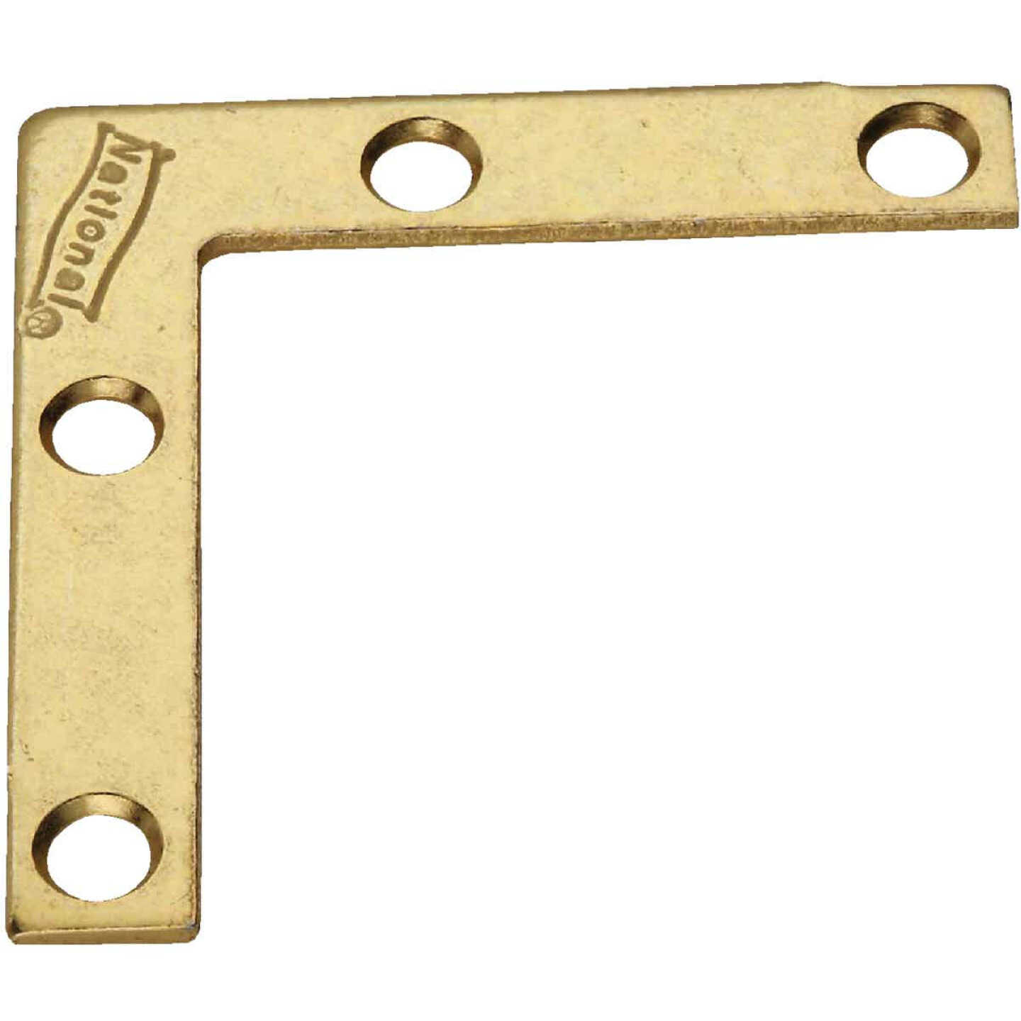 National Catalog 117 2 In. x 3/8 In. Brass Flat Corner Iron (4-Count) Image 1