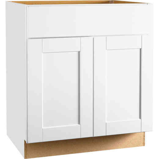 Continental Cabinets Andover Shaker 30 In. W x 34-1/2 In. H x 21 In. D White Vanity Base, 2 Door