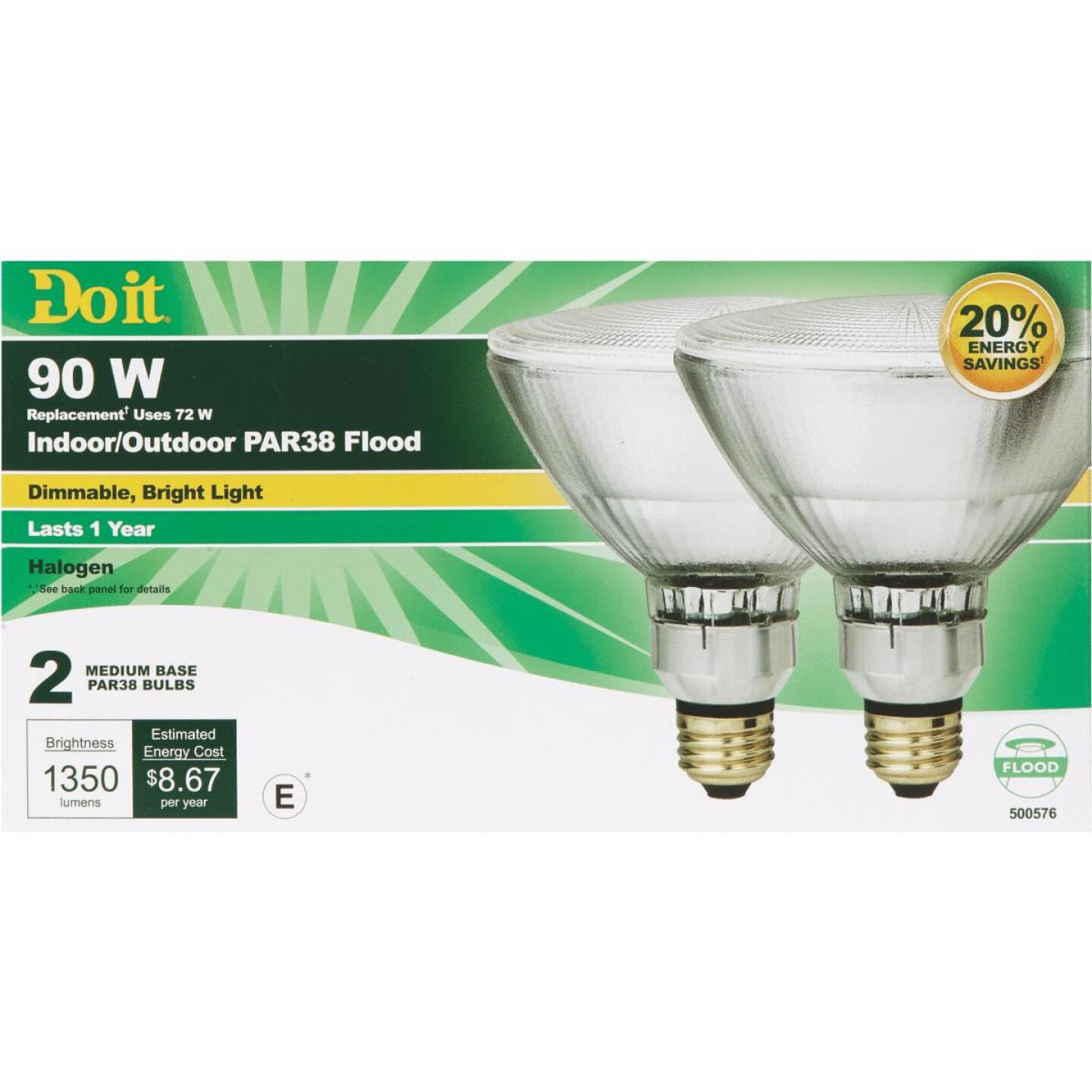 Do it 90W Equivalent Clear Medium Base PAR38 Halogen Floodlight Light Bulb (2-Pack) Image 3