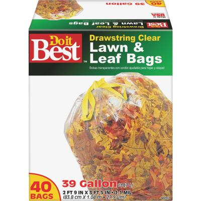 Do it Best 39 Gal. Clear Drawstring Lawn & Leaf Bag (40-Count)